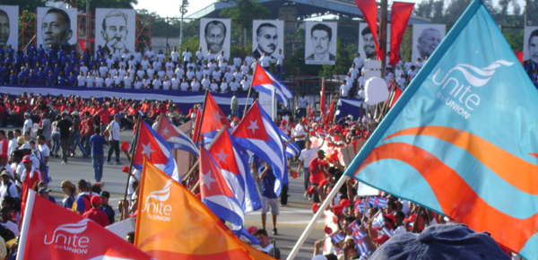 A march to represent Unite the Union and the Cuba solidarity campaign.