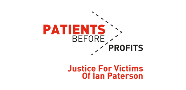 The logo for Thompsons Solicitors' Patients Before Profits campaign to support victims of surgeon Ian Paterson.