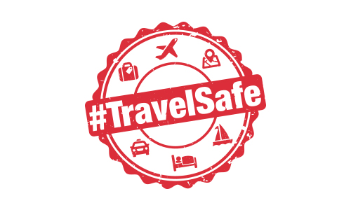 Red and white travel safe logo with travel symbols
