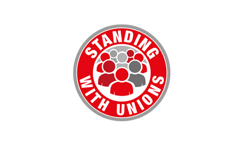 The Standing With Unions Logo, showing people standing together in solidarity