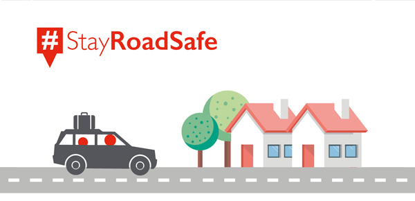 An infographic showing a car on the road with the hashtag 'stay road safe'