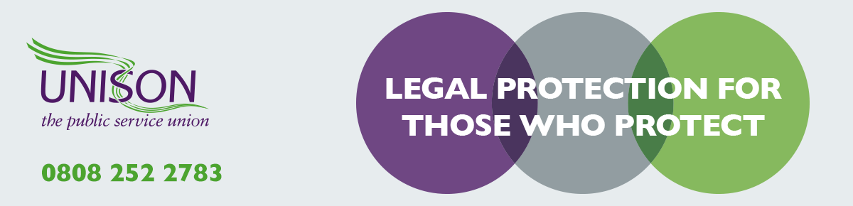 A green, purple and grey circle to represent legal protection for UNISON members.